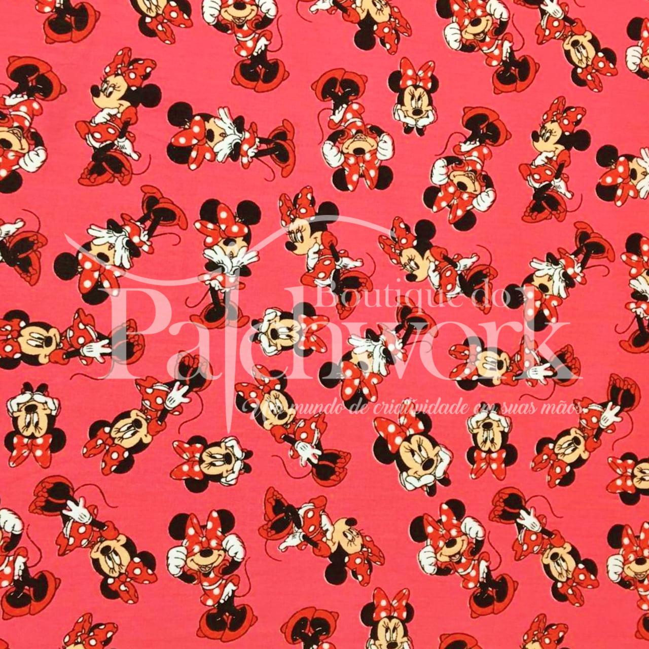 Tecido Minnie Mouse fd. Rosa (50cm x 1,50m)