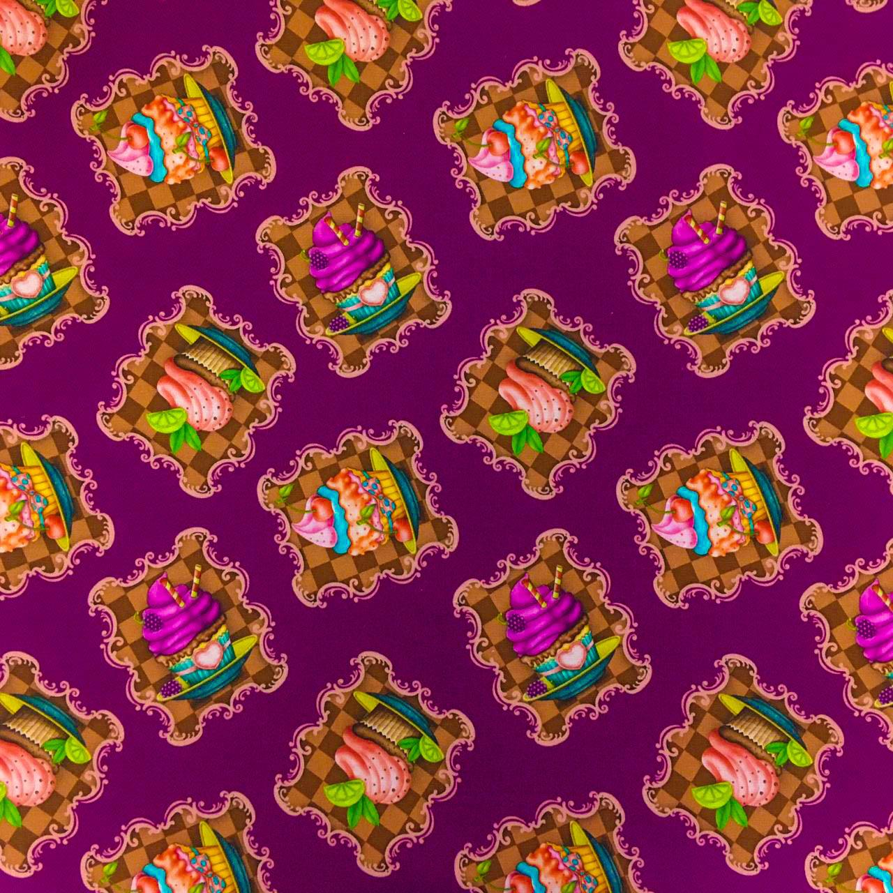 Retalho Tecido Digital Retratos Cupcake Fd Uva (50x36cm)