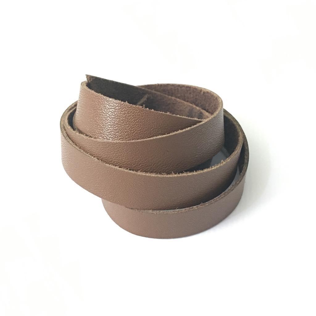 Tira de Couro Marrom Claro 1,5cm