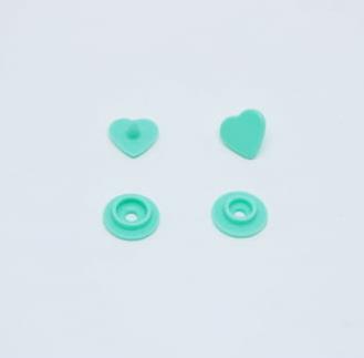 Botão de Pressão Ritas nº 10 Coração Hortelã (Pacote com 50 peças)