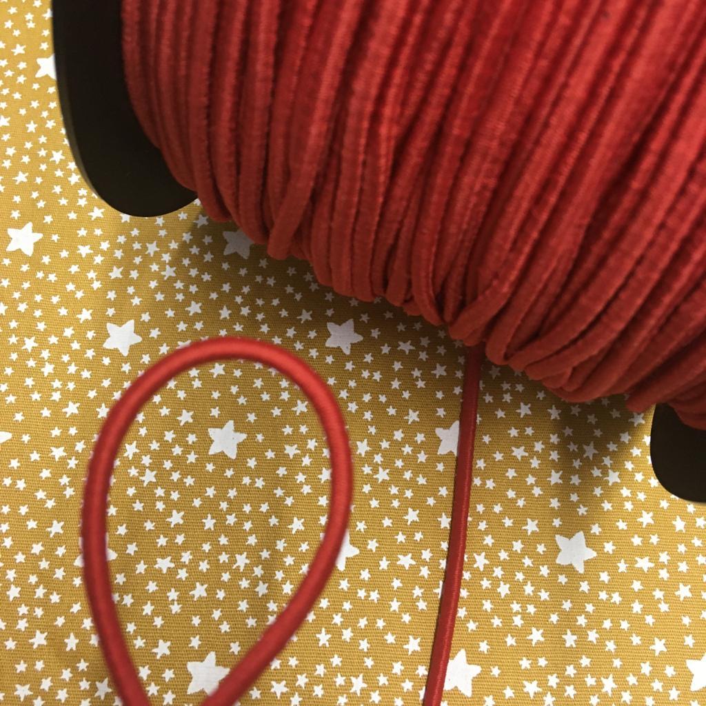 Elástico Roliço Vermelho 3mm