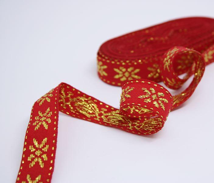 Galão Flor Lurex Vermelho Ouro
