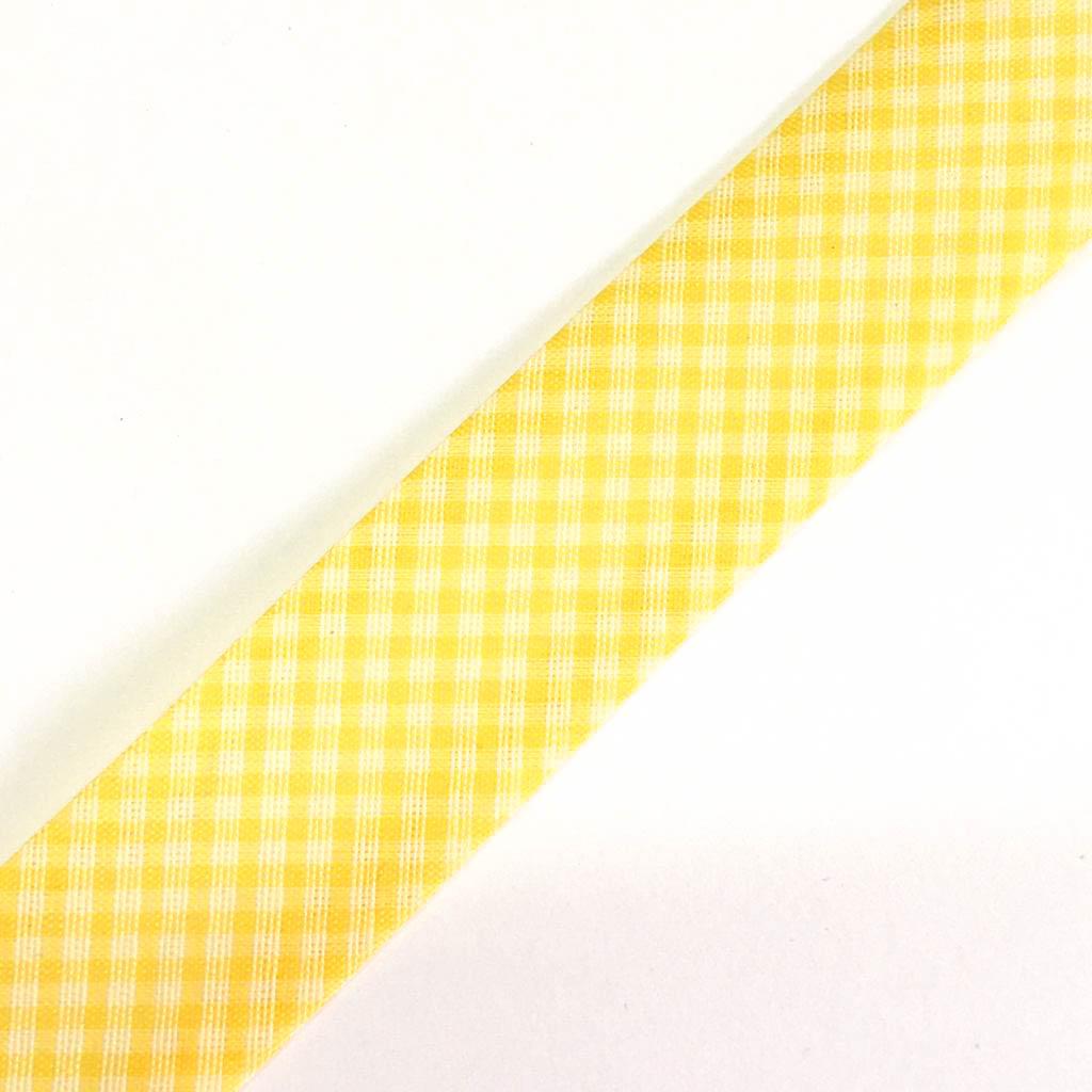 Viés Estampado Xadrez  Amarelo Cor 210 (Pacote com 5 metros)