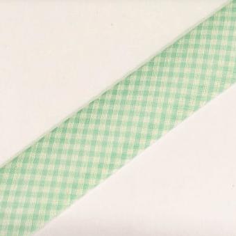 Viés Estampado Xadrez Verde Água Cor 201 (Rolo com 20 metros)