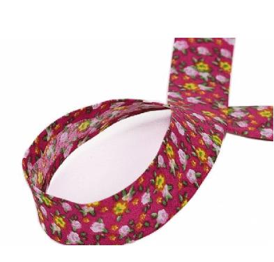Viés Fino 24mm Floral Fd Pink Cor 26 (Rolo com 20 metros)