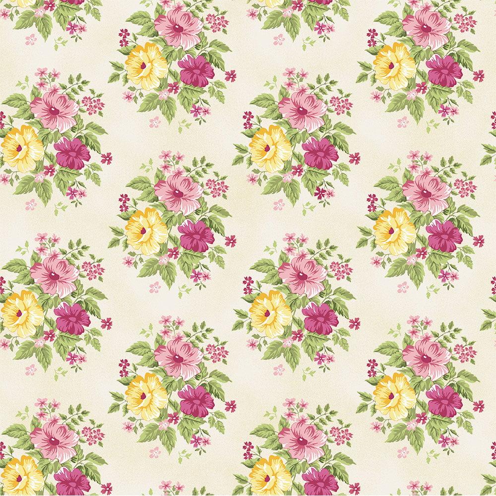 Tecido Grand Bouquet Creme (Coleção Beautiful Smile)