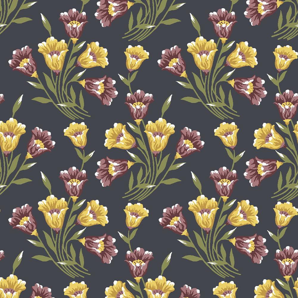 Tecido Bouquets de Lírios Marinho (Coleção Lírios)