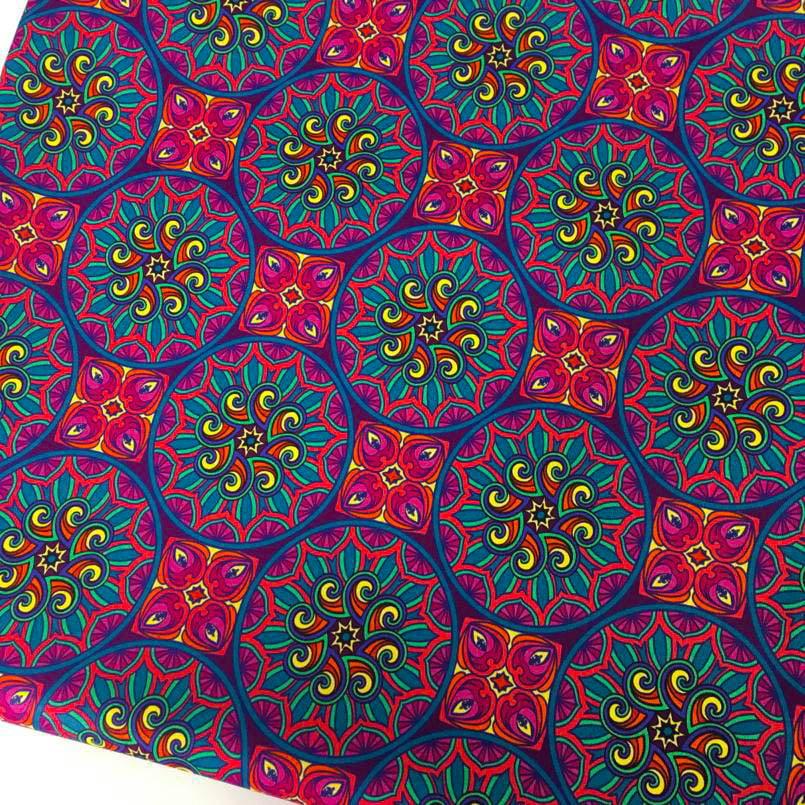 Tecido Digital Mandalas India Fd Violeta