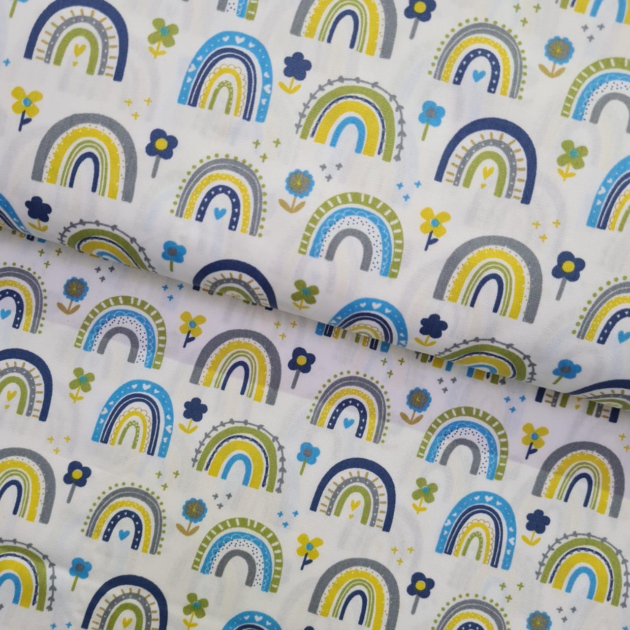 Tecido Blue Flower Rainbow Coleção Over The Rainbow