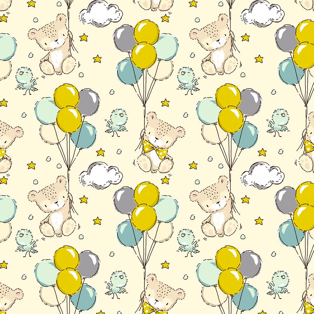 Tecido Teddy Balloons (Coleção Teddy)