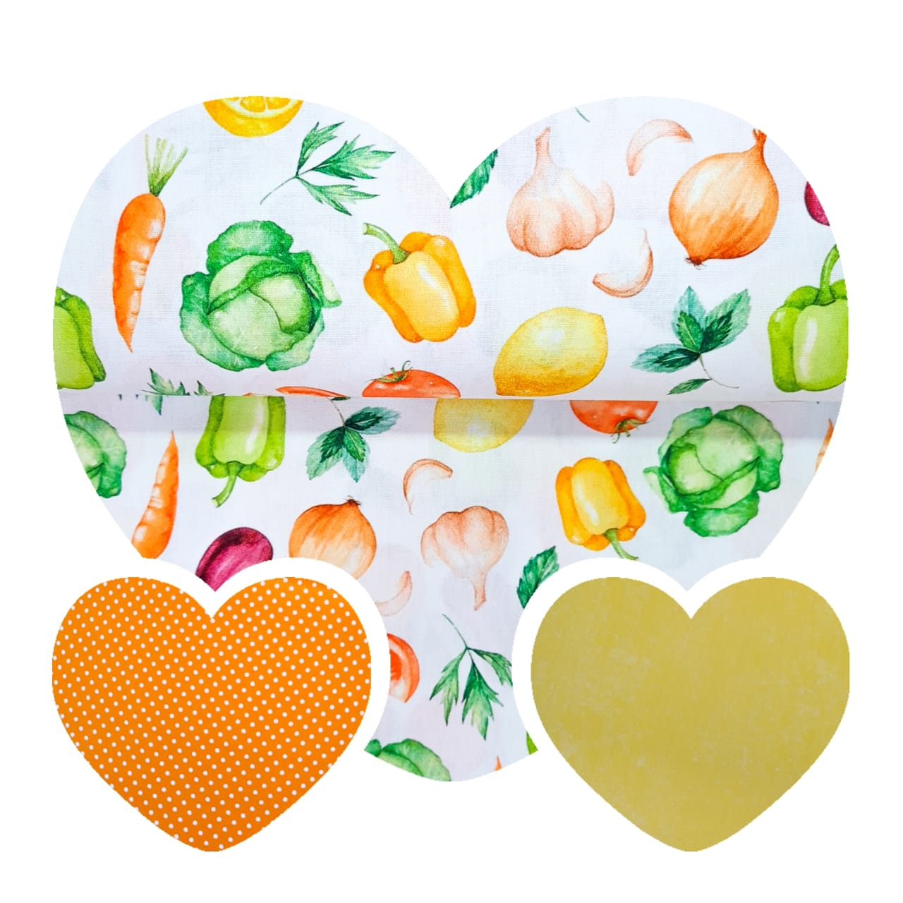 Kit de Tecidos Legumes + Poá + Poeira  (3 Cortes de 50x1,50)
