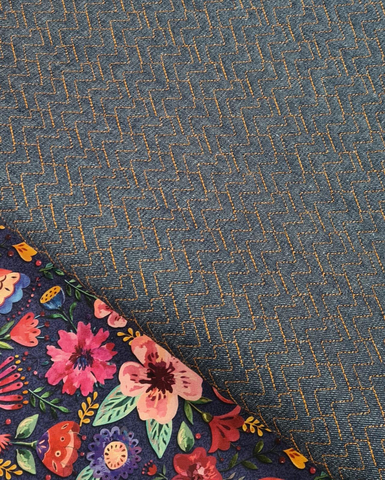 Jeans Matelassado Tradicional Chevron Cor Caramelo (0,48 x 0,78)