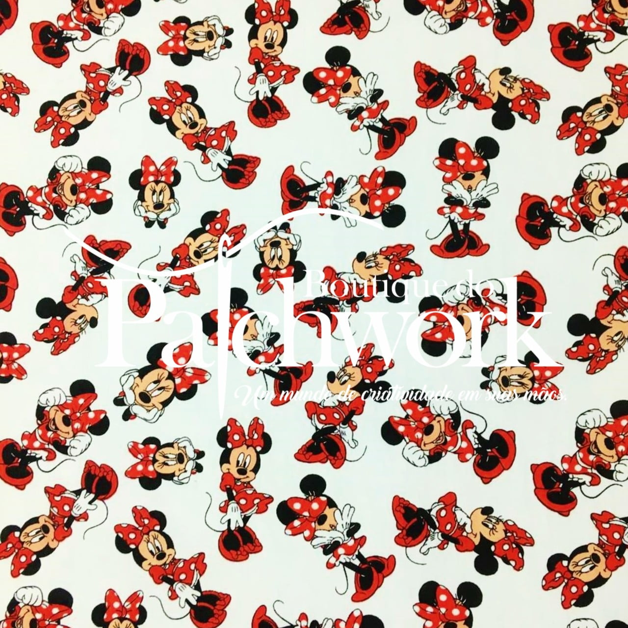 Tecido Minnie Mouse Fd Branco
