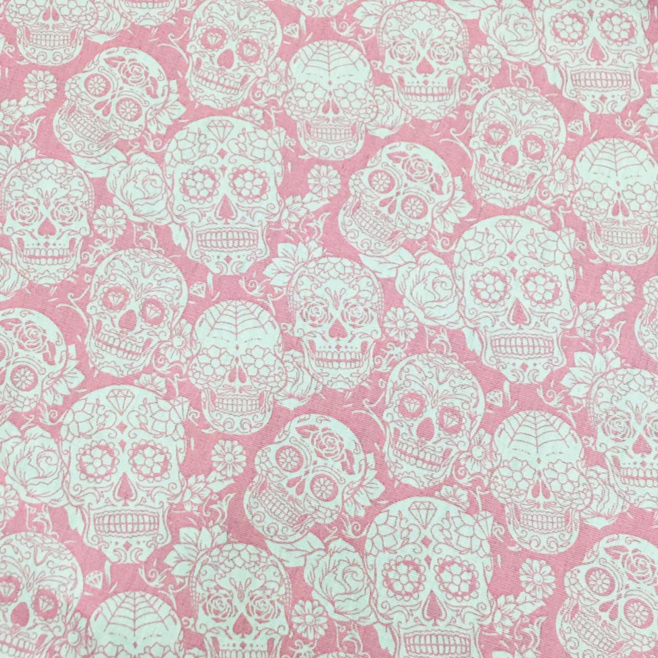 Tecido Caveiras Mexicanas Rosa