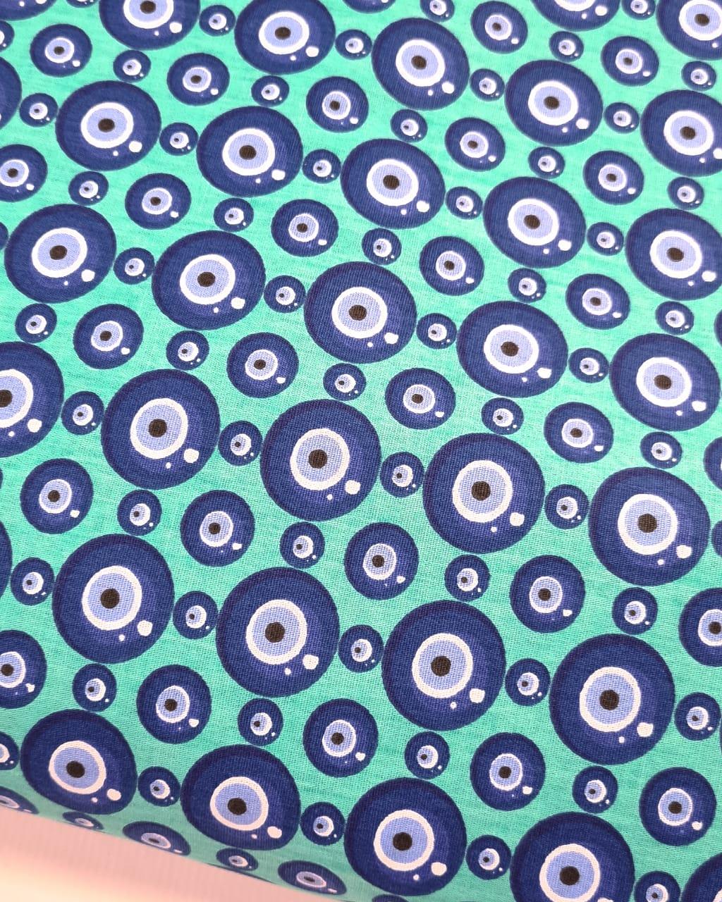 Tecido Olho Grego Fd Verde Tiffany