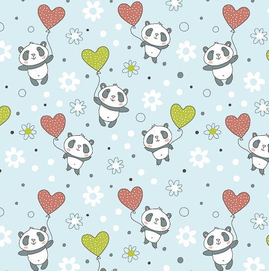 Tecido Panda com Balões Coleção Pandinhas