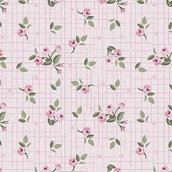 Tecido Mini Floral Pássaros Rosa