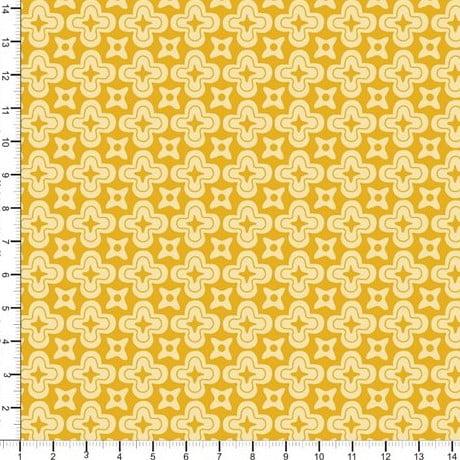 Tecido Geométrico Floral Amarelo