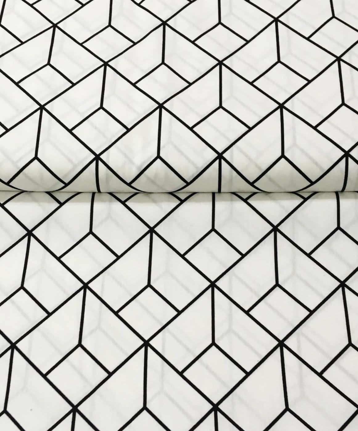 Tecido Monochrome Square Preto