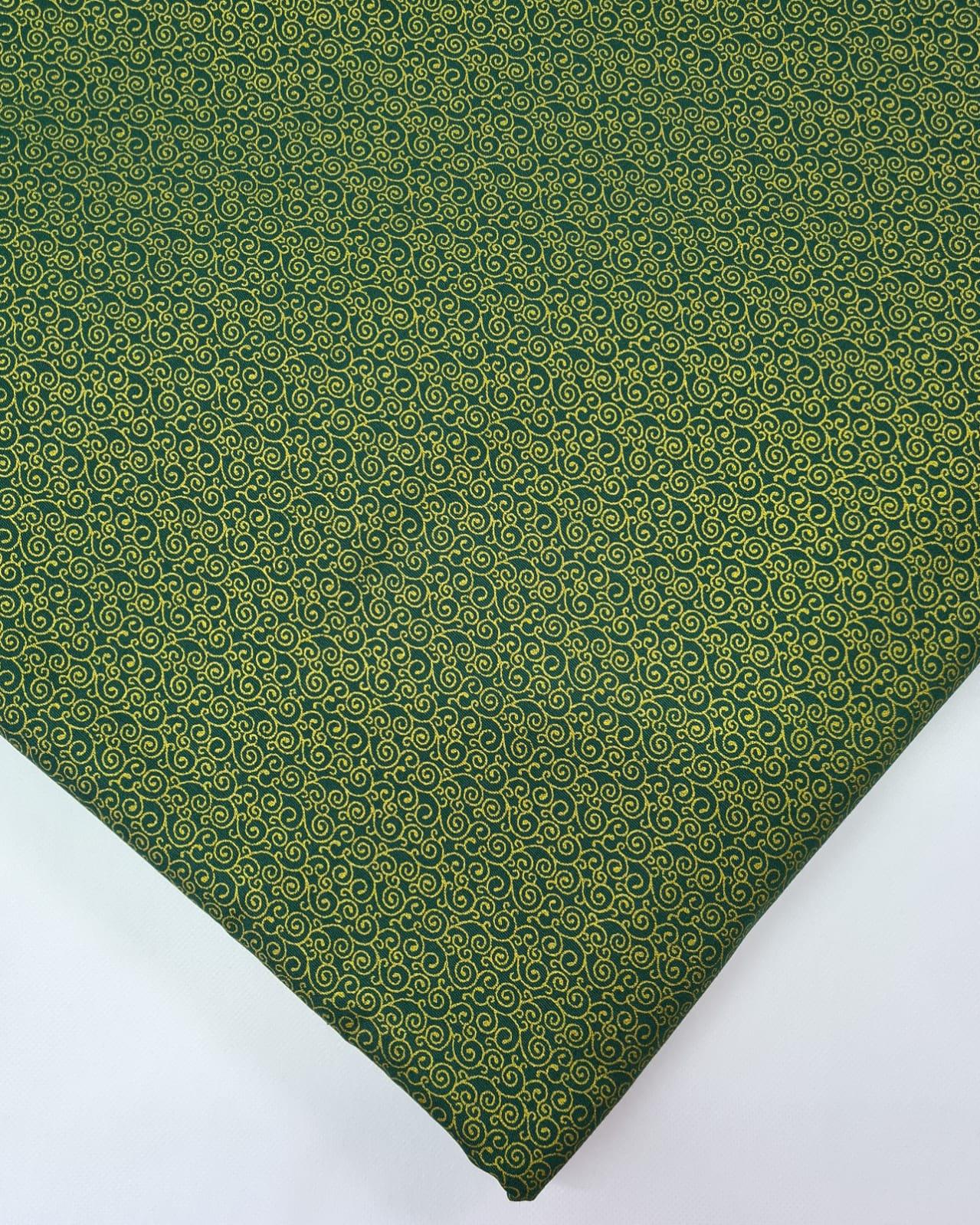 Tecido Caracol Toque Dourado Fd Verde