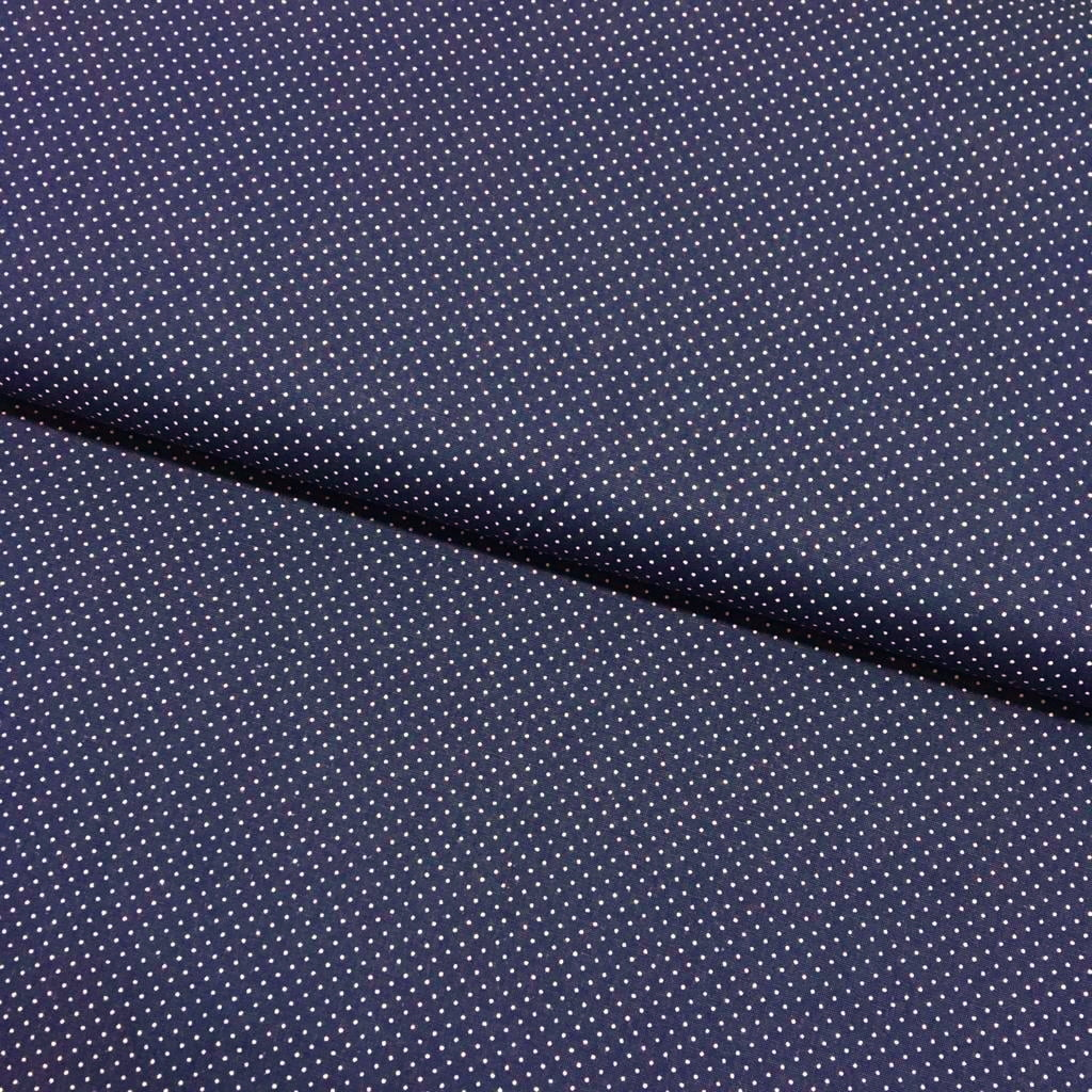 Tecido Micro Poá Branco Fd Azul Marinho IB