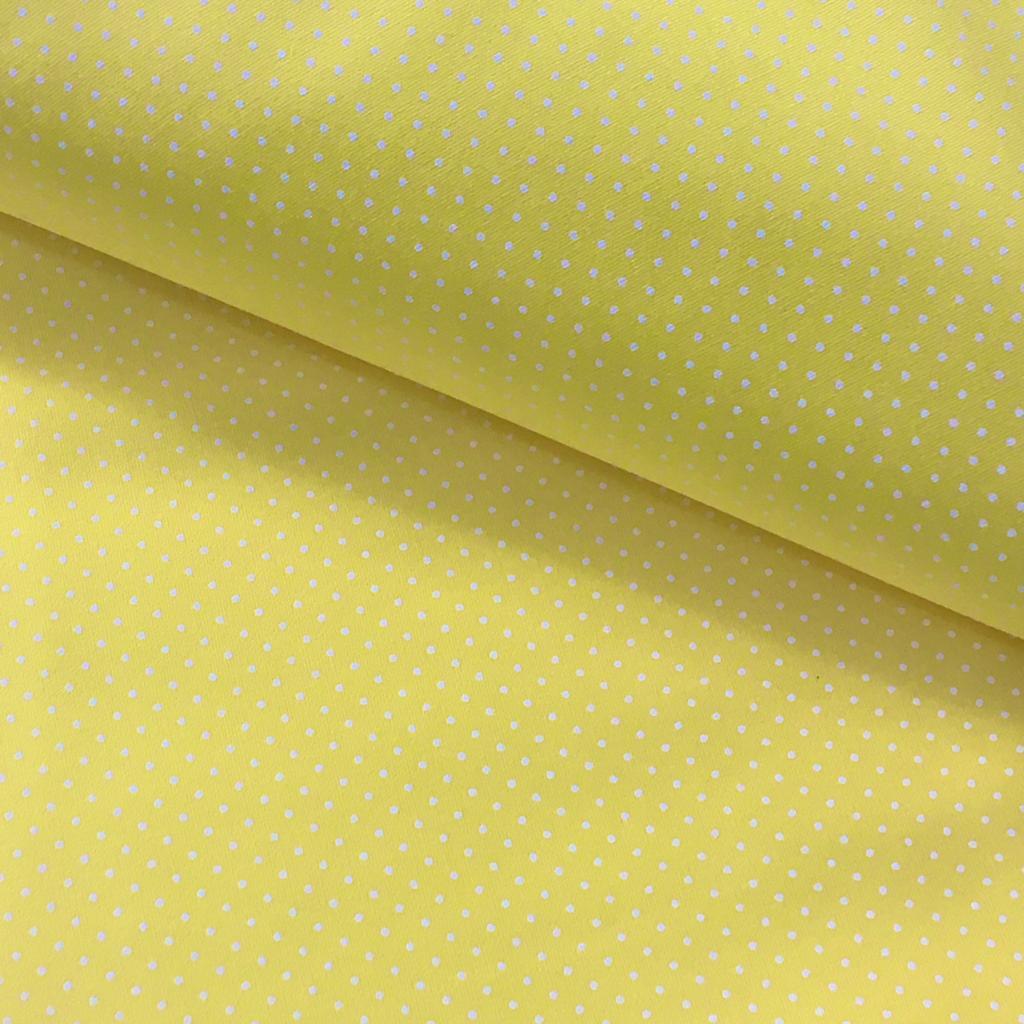 Tecido Poá P Branco Fd Amarelo