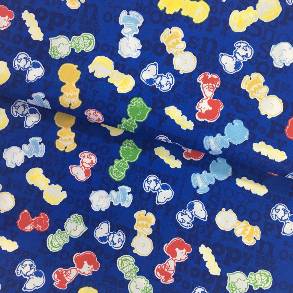 Tecido Turma do Snoopy Fd Azul