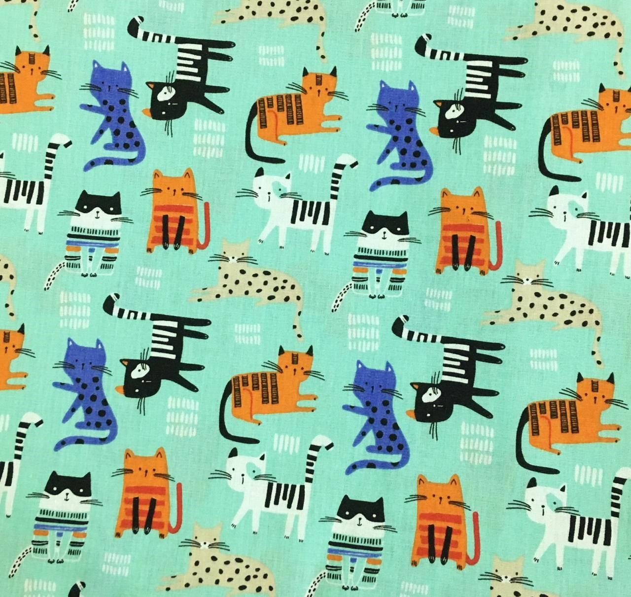 Tecido Gatinhos Fofos Fd Azul