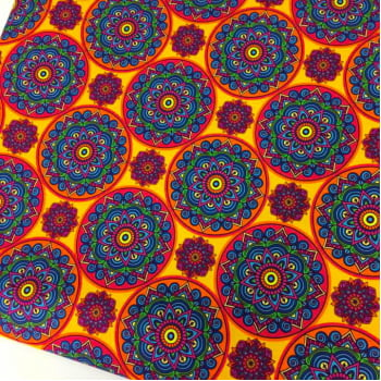 Retalho Tecido Digital Mandalas India Circulos Fd Amarelo (50x36cm)