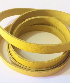 Tira de Couro Amarelo 1cm