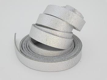 Tira de Couro Prata 1cm