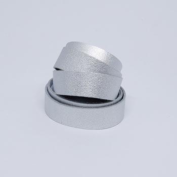 Tira de Couro Prata 2cm