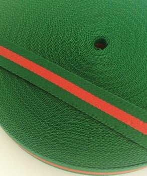 Alça Fashion Listrada Verde e Vermelho 3cm