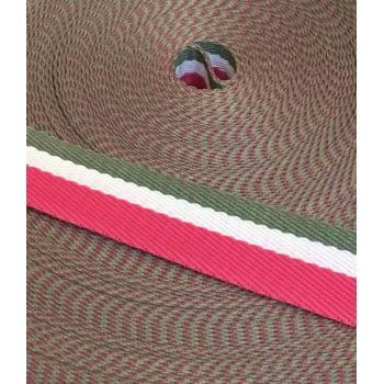 Alça Fashion Listrada Pink, Branco e Cinza 3cm