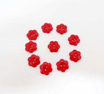 Botão Margarida Vermelha (Pacote com 10)