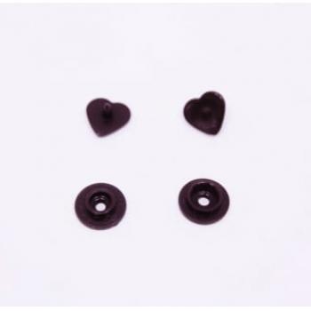 Botão de Pressão Ritas nº 10 Coração Café (Pacote com 50 peças)