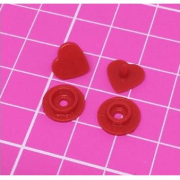 Botão de Pressão Ritas nº 10 Coração Vermelho (Pacote com 50 peças)