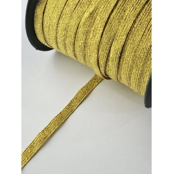 Elástico Chato Metalizado Ouro 6mm