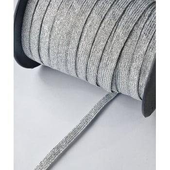 Elástico Chato Metalizado Prata 6mm