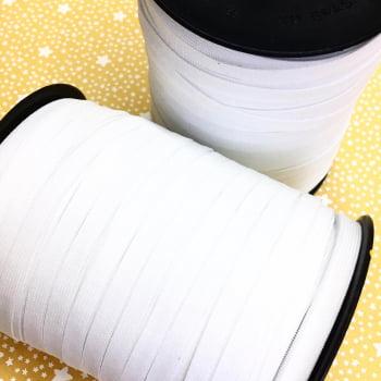 Elástico Chato Branco 6,5mm  - 100 metros (Conde)
