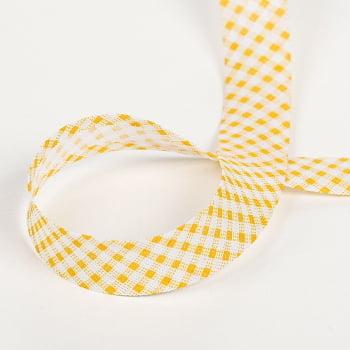 Viés Largo Xadrez Branco/Amarelo P