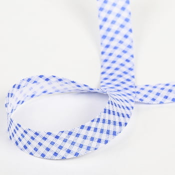 Viés Largo Xadrez Branco/Azul P