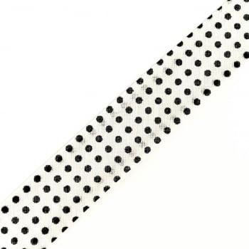 Viés Estampado Bolinha Preta Fd Branco Cor 308 (Pacote com 5 metros)