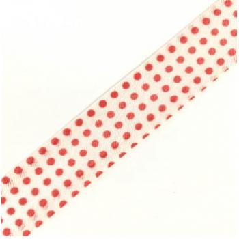 Viés Estampado Bolinha Vermelho Fd Branco Cor 310 (Rolo com 20 metros)