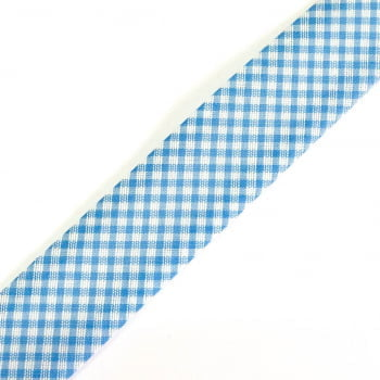 Viés Estampado Xadrez Azul Claro Cor 214 (Pacote com 20 metros)