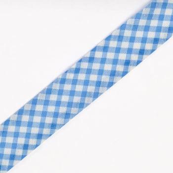 Viés Estampado Xadrez  Azul Claro Grande Cor 221 (Pacote com 5 metros)