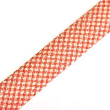 Viés Estampado Xadrez  Vermelho Cor 206 (Pacote com 5 metros)