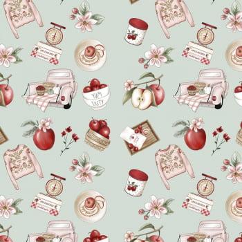Tecido Digital Apples Recipes (Coleção Anita Catita Red Blossom)