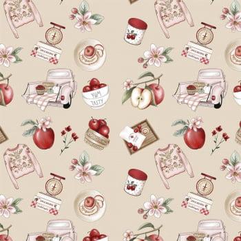 Tecido Digital Nude Apples Recipes (Coleção Anita Catita Red Blossom)