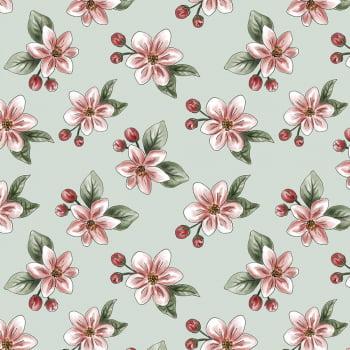 Tecido Digital Apple Blossom (Coleção Anita Catita Red Blossom)